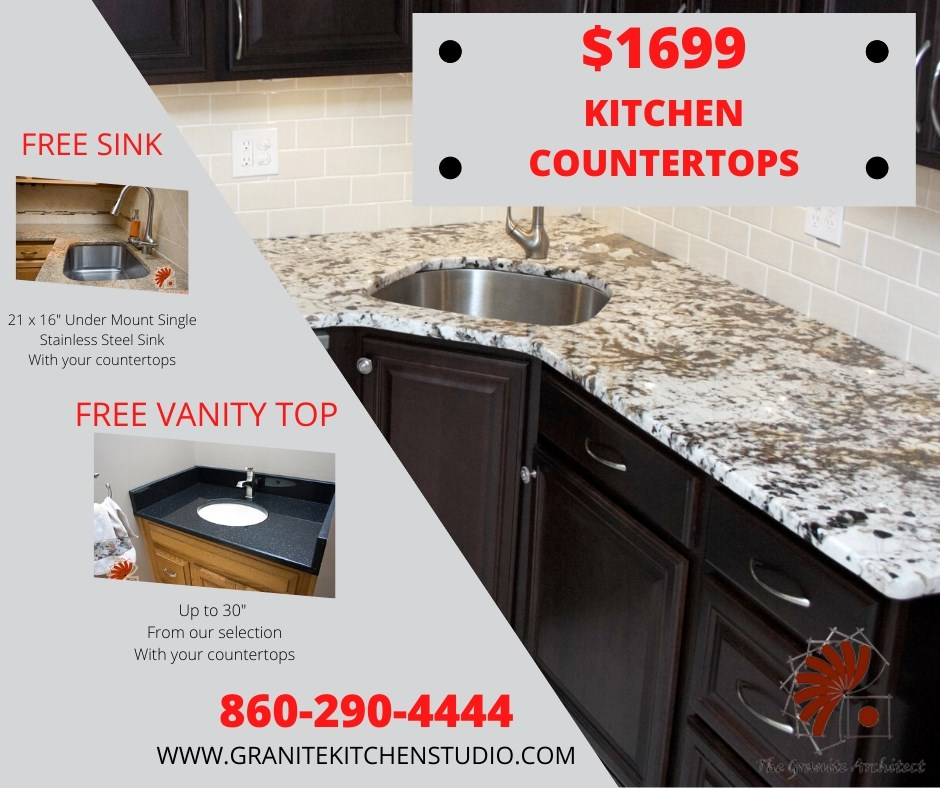 """$1,699 kitchen countertops. FREE SINK: 21x16"""" stainless steel undermount. FREE VANITY TOP: Up to 30"""" wide. From our selection."""
